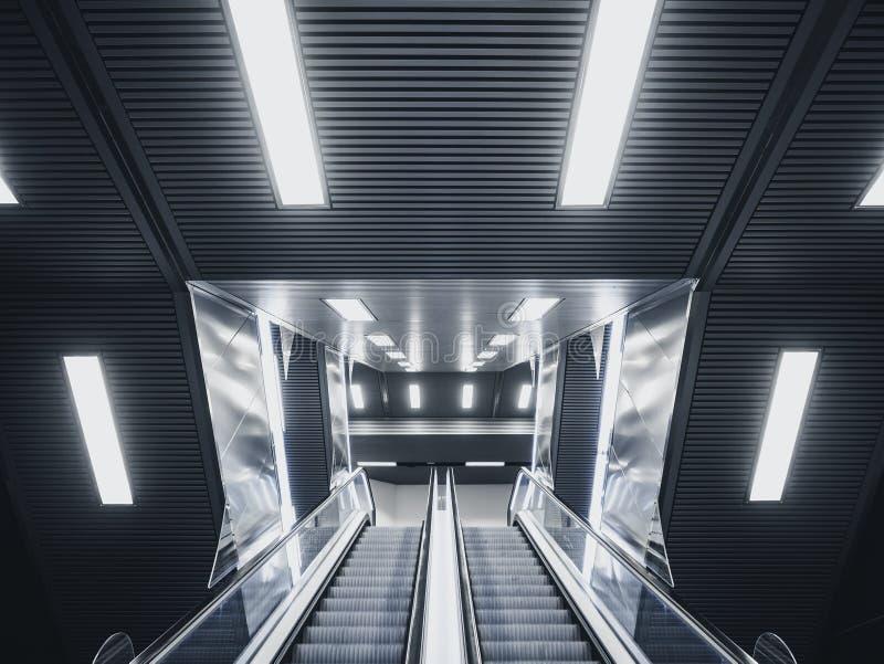 Escalator in Modern Building Neon Light Interior Futuristic Background immagini stock