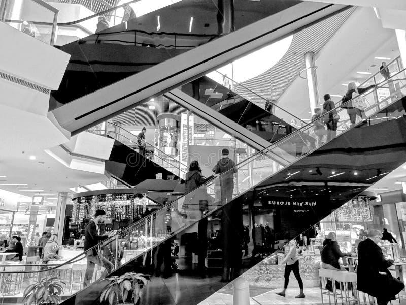 Escalator in modern shopping center royalty free stock photos