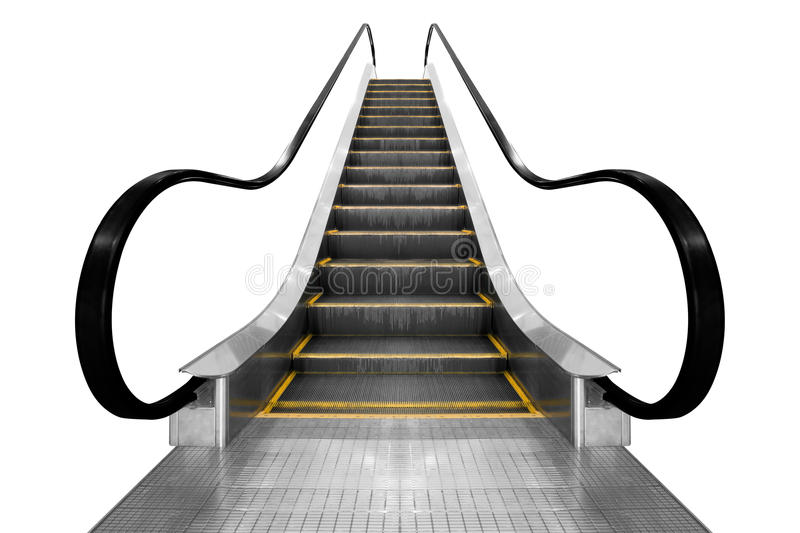 Escalator moderne d'escalier d'architecture d'isolement sur le fond blanc image stock