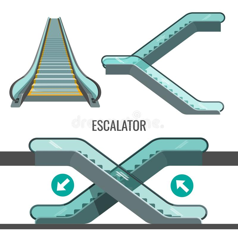 Escalator Moving Staircase With Arrows Showing Way Of Movement Stock