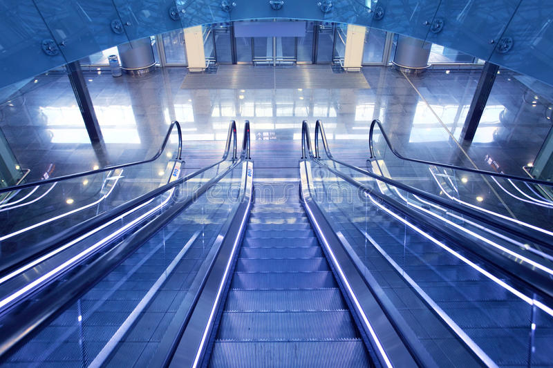Escalator In New Airport Terminal Stock Photo