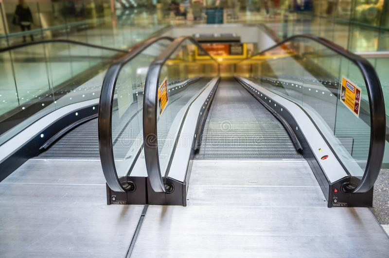 Escalator in shopping mall. royalty free stock photography