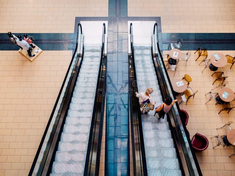 Escalator in shopping mall royalty free stock photo
