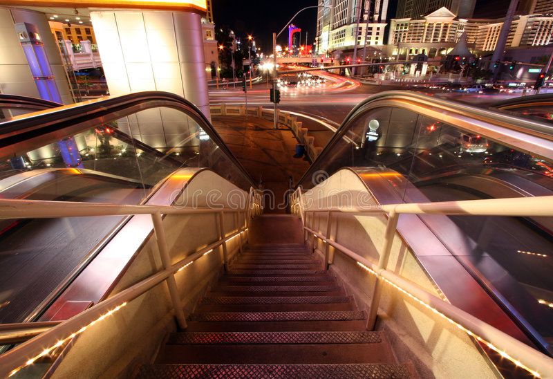 Download Escalator And Staircase Down With Blurred Traffic And Lights Editorial Stock Image - Image: 1874339