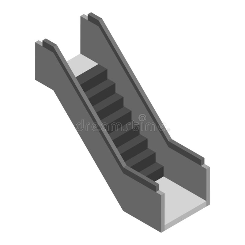 Escalator stairs icon, isometric style royalty free illustration