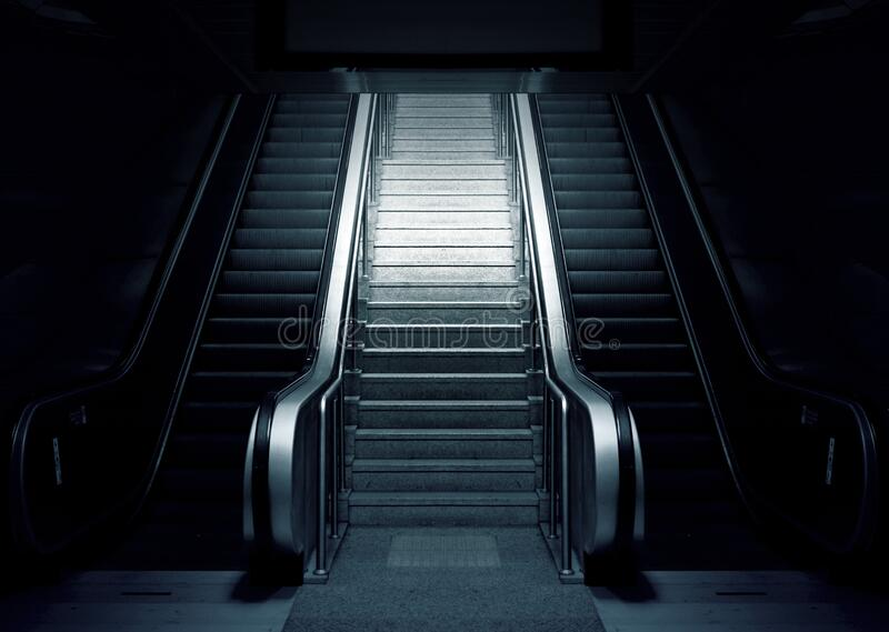 Escalator and stairs royalty free stock photo