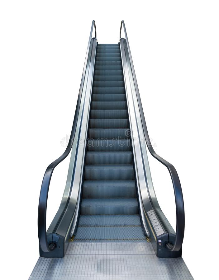 Escalator outside shopping mall isolated on white background with clipping path stock image
