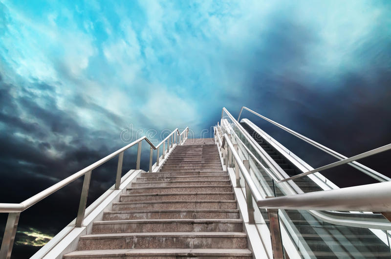 Escalator to the sky. Urban fantasy landscape,abstract expression royalty free stock photo