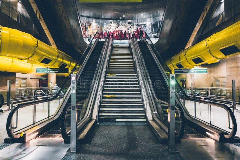 Escalator in train station stock photo