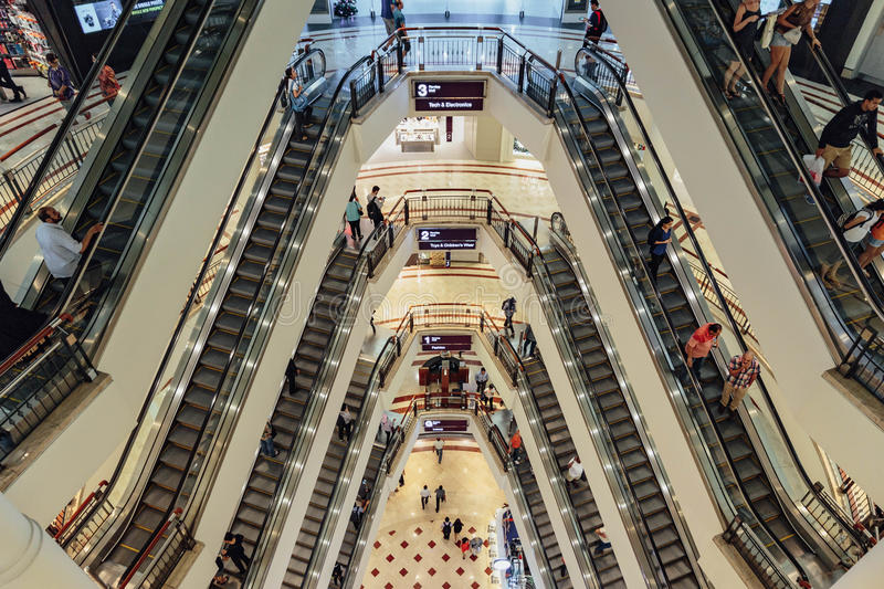 Escalator that viewed from the top of department store in Kuala Lumpur, Malaysia stock images
