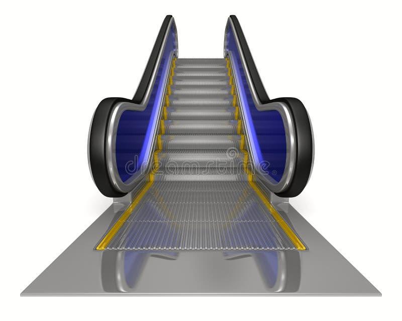 Escalator on white background. Isolated 3D royalty free illustration