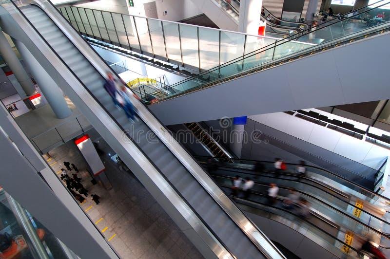 Escalators in airport stock photography