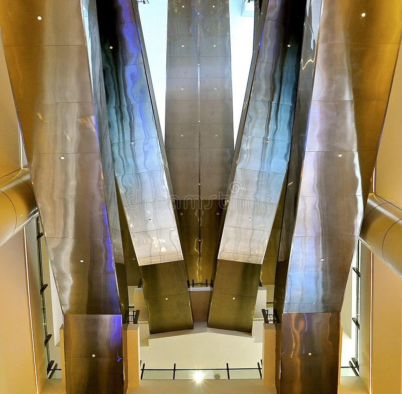 Escalators from below stock photography