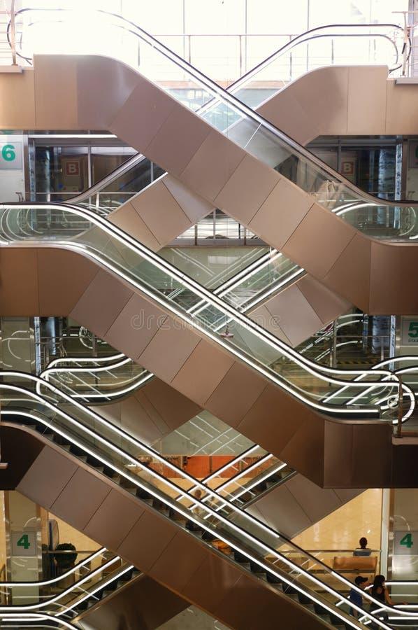 Escalators at the mall royalty free stock photography
