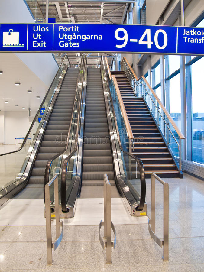Download Escalators and sign stock image. Image of stylish, hall - 20907201
