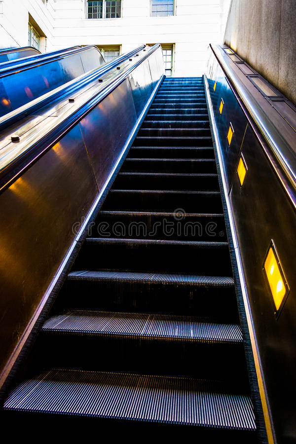 Escalators in the Smithsonian Metro Station, Washington, DC. Escalators in the Smithsonian Metro Station, Washington, DC stock photography