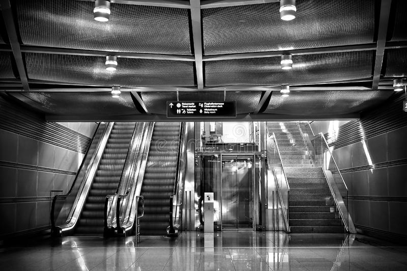 Escalators and stairs royalty free stock photography