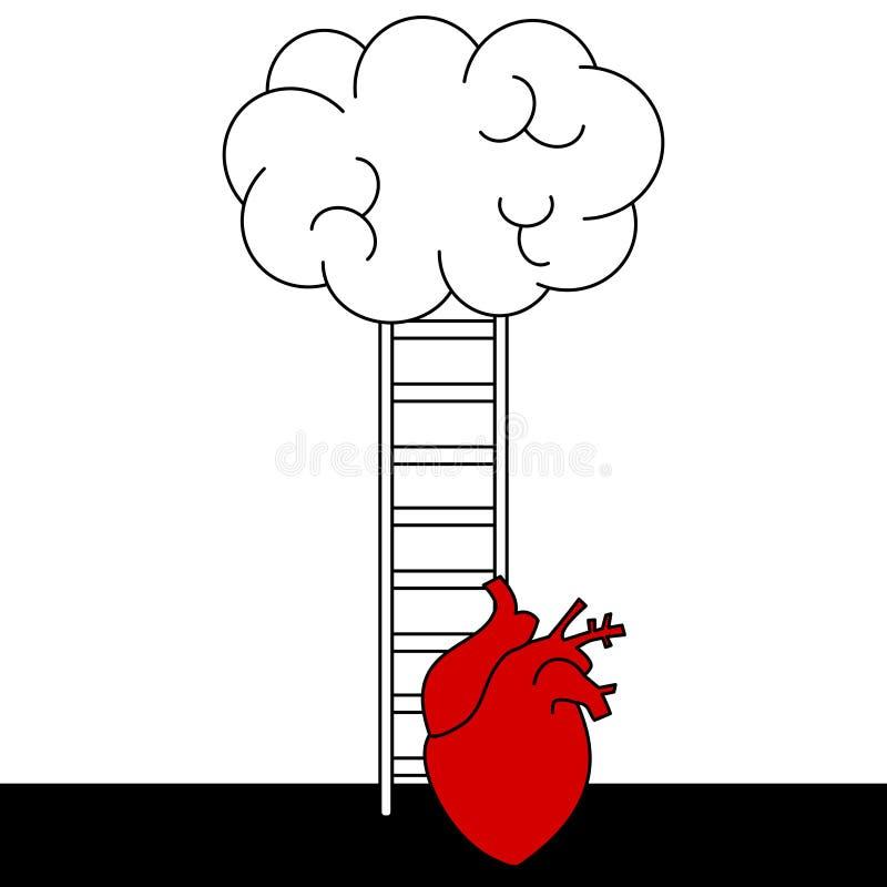 Escale acima a ilustração do conceito do vetor da escada com coração e o cérebro humanos ilustração do vetor