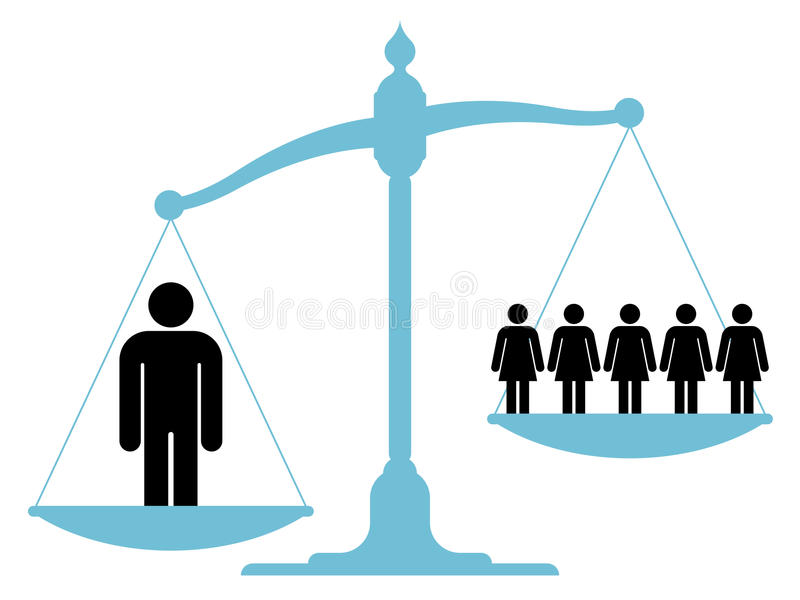 Escale o peso do único homem contra um grupo de mulheres ilustração stock