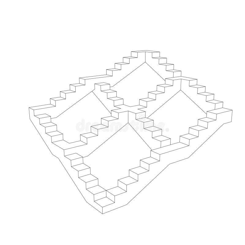 escalera Aislado en el fondo blanco Illustrat del esquema del vector stock de ilustración