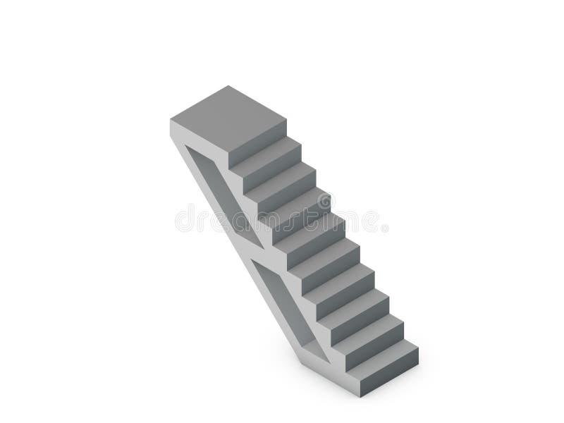 escalera Aislado en el fondo blanco illustratio de la representación 3D stock de ilustración