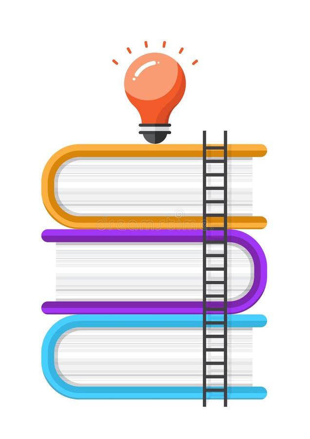 Escalera al éxito creativo, concepto de la educación, vector del libro stock de ilustración