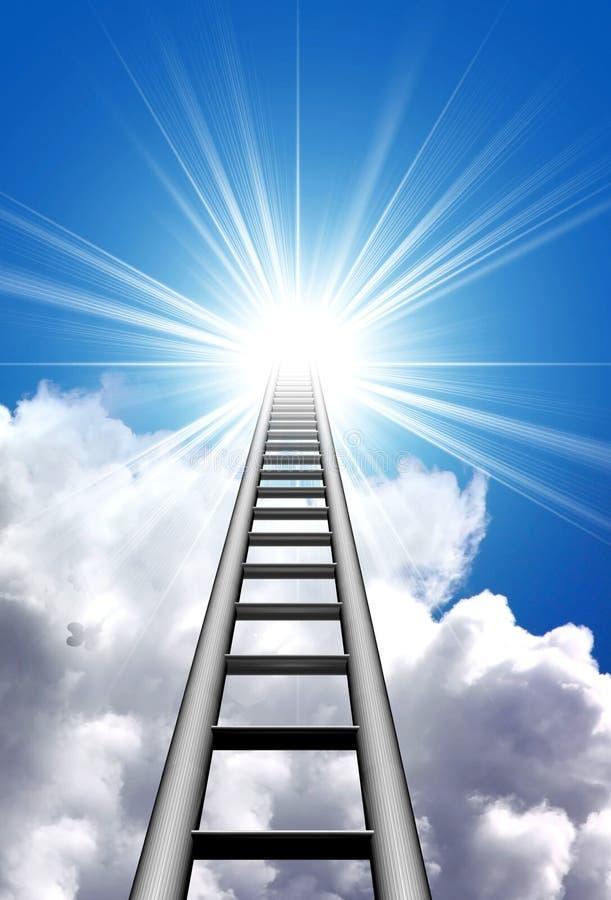 Escalera al cielo azul ilustración del vector