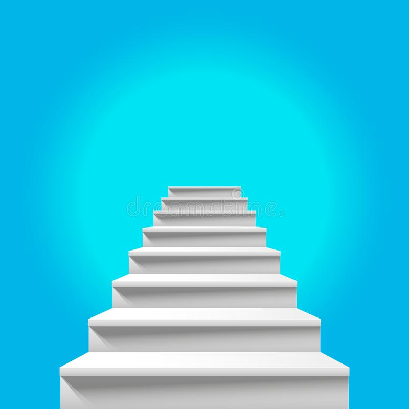 Escalera al cielo Escalera blanca que lleva al cielo azul divino ilustración del vector