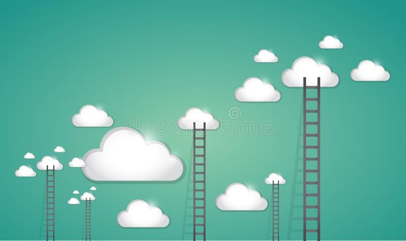 Escalera al diseño del ejemplo de las nubes del múltiplo stock de ilustración