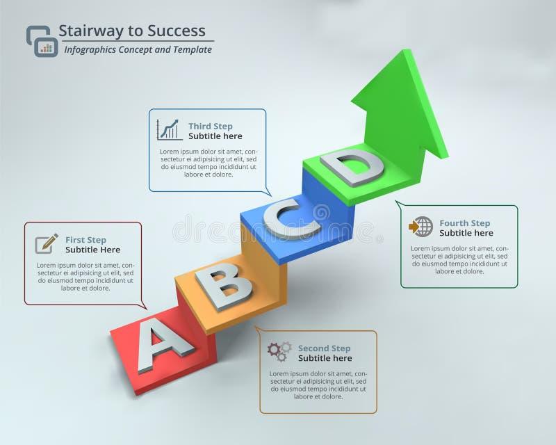 Escalera al ejemplo del vector de Infographic del éxito ilustración del vector