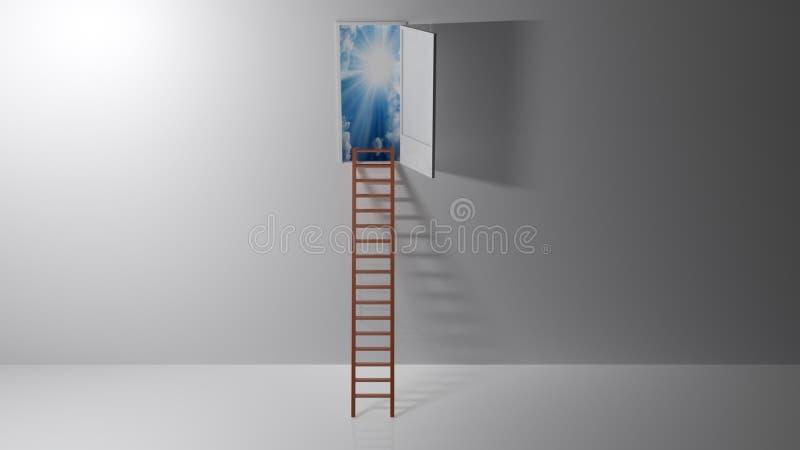 Escalera al paraíso - representación 3D fotografía de archivo