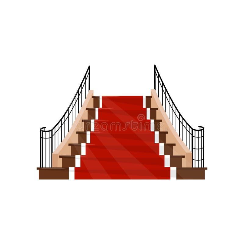 Escalera ancha con las barandillas del metal y los pasos de madera cubiertos con la alfombra roja Elemento para el pasillo del ho ilustración del vector