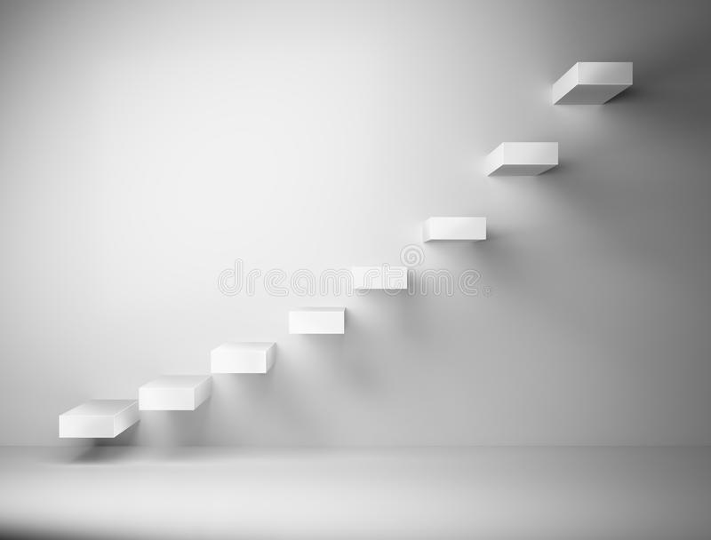 escalera blanca 3D en la pared blanca stock de ilustración