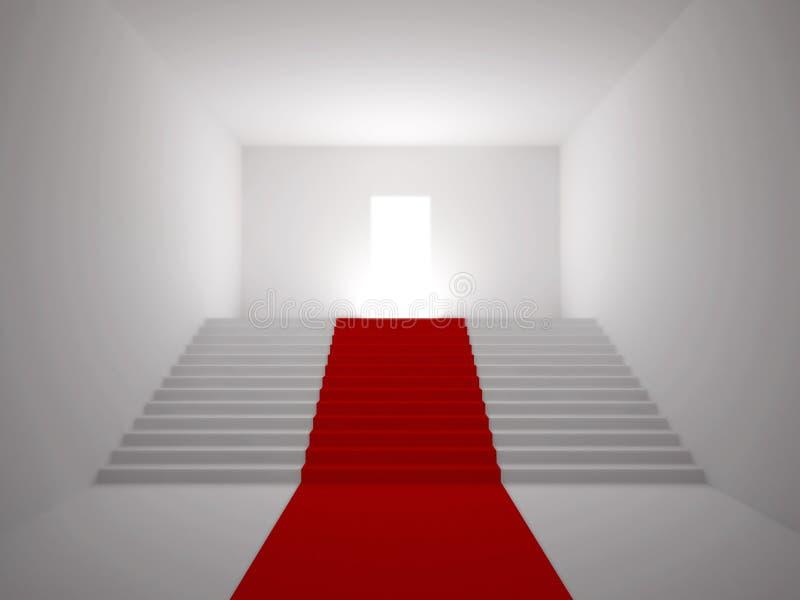 Escalera con la alfombra roja foto de archivo libre de regalías
