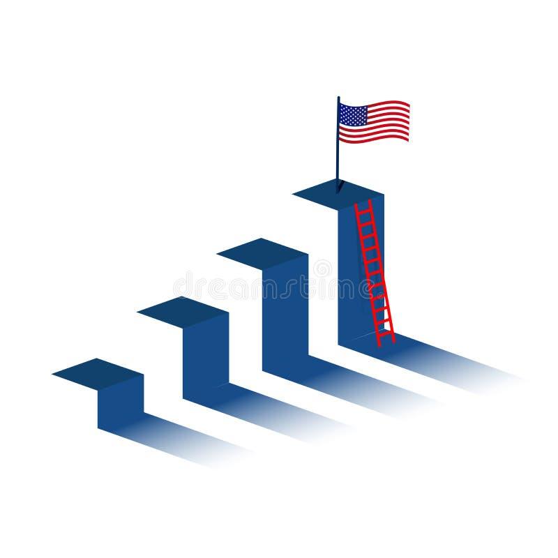 escalera con la bandera americana en pico de montaña ilustración del vector