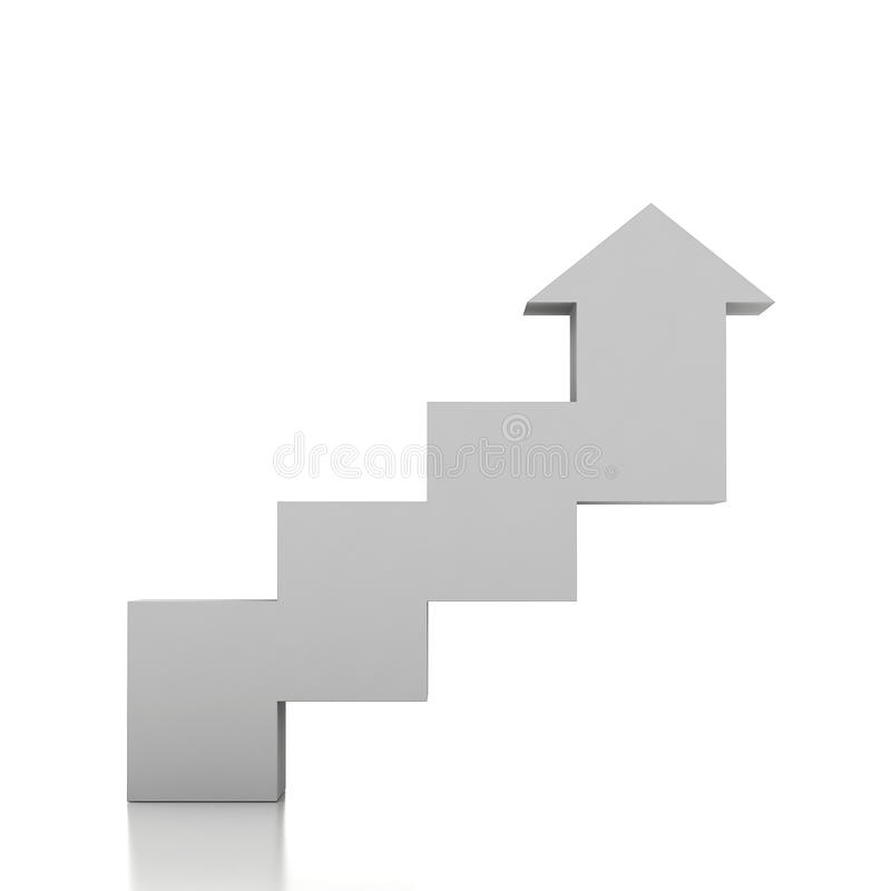 escalera 3d y flecha ilustración del vector