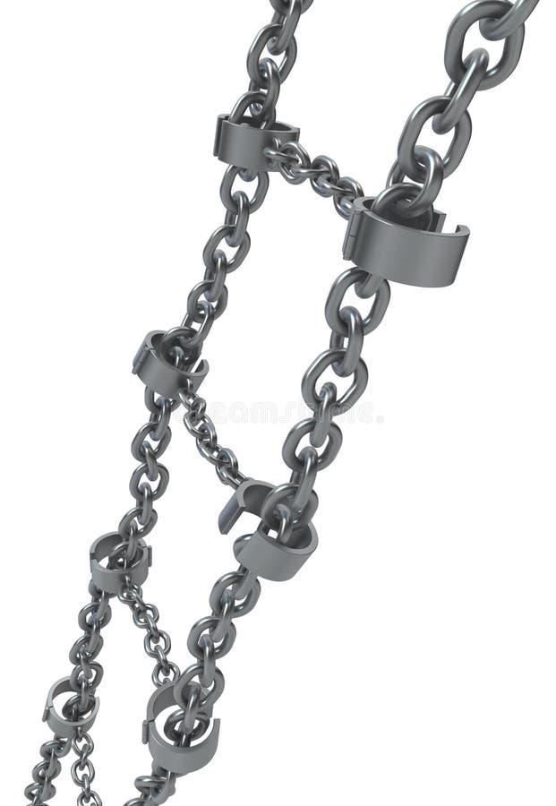 Escalera de cadena del metal de los grillos ilustración del vector