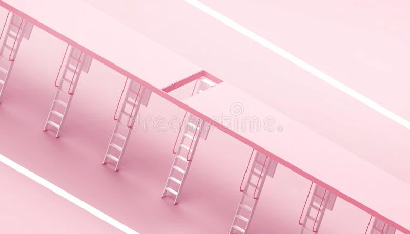 Escalera de Ceil - escaleras modernas y simples de la escalera en el concepto de transformación del negocio en un fondo rosado libre illustration
