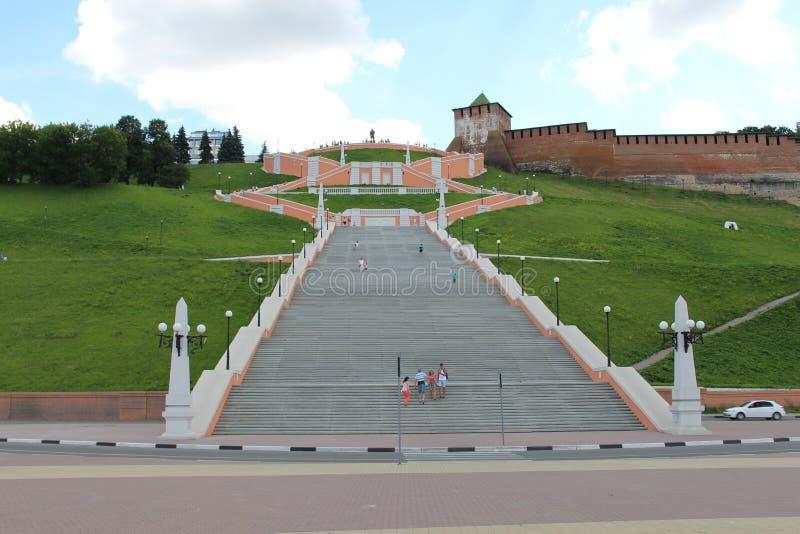 Escalera de Chkalov en Nizhny Novgorod foto de archivo