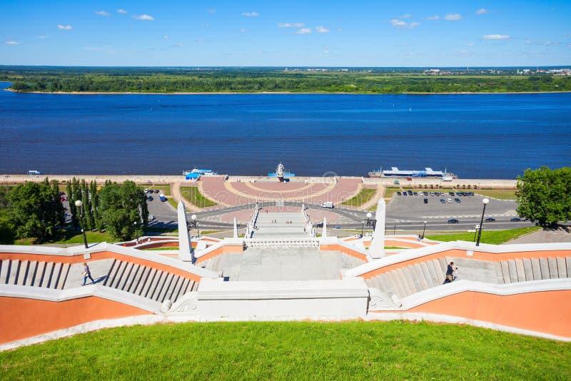Escalera de Chkalov, Nizhny Novgorod imagenes de archivo