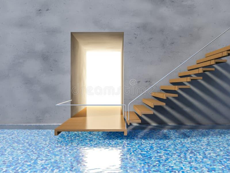 escalera de madera 3ds stock de ilustración
