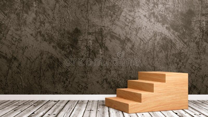 Escalera de madera en el cuarto libre illustration