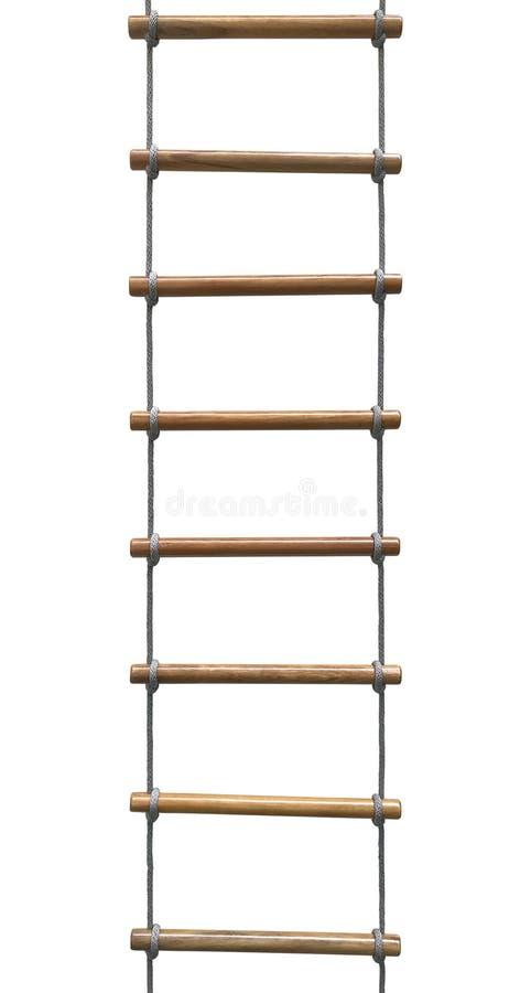 escalera de madera de la cuerda imagen de archivo