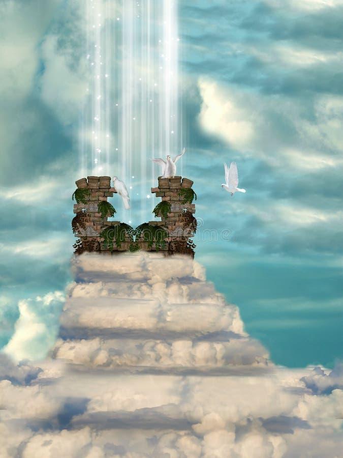 Escalera de nubes ilustración del vector