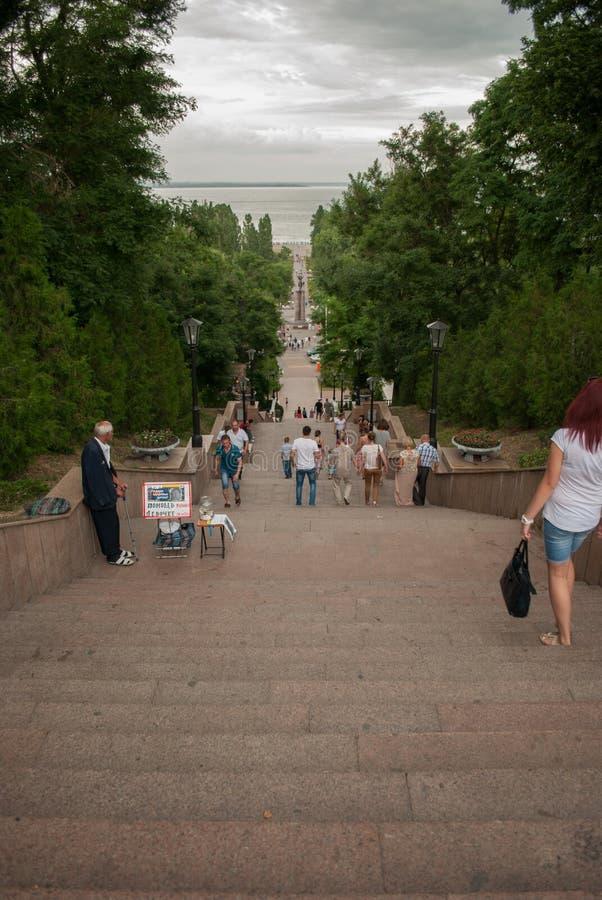 Escalera de piedra en Taganrog fotos de archivo