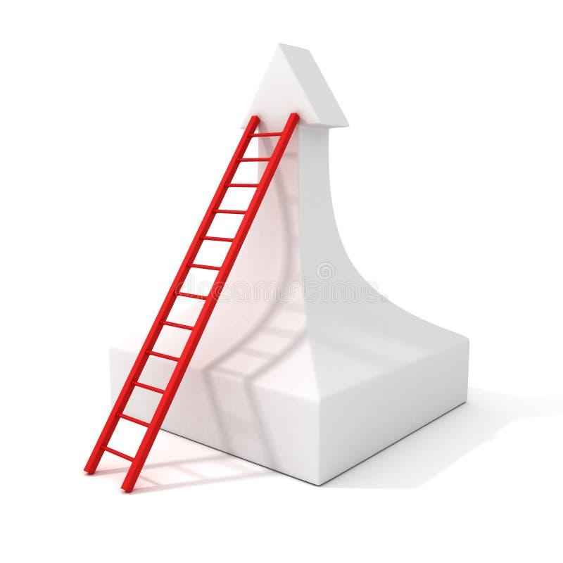 Escalera del éxito de la escalera al top de la flecha creciente libre illustration