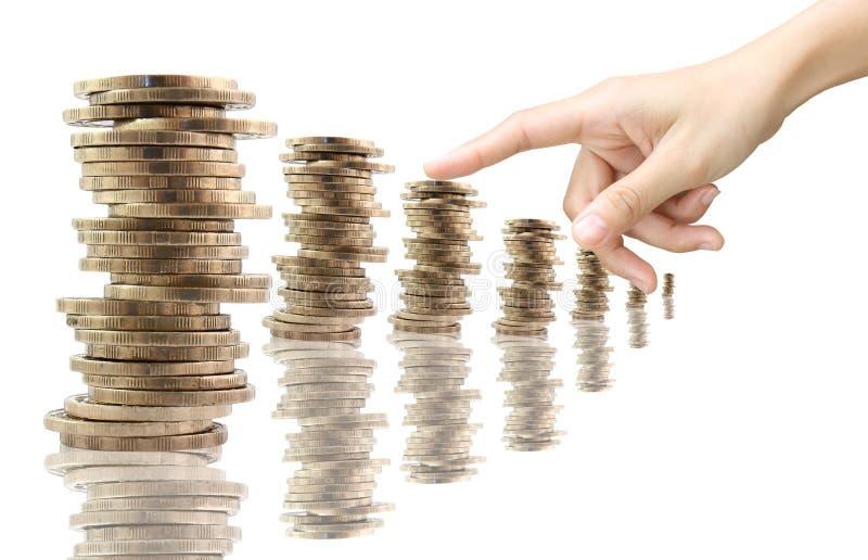 escalera del dinero, aislada en el fondo blanco foto de archivo libre de regalías