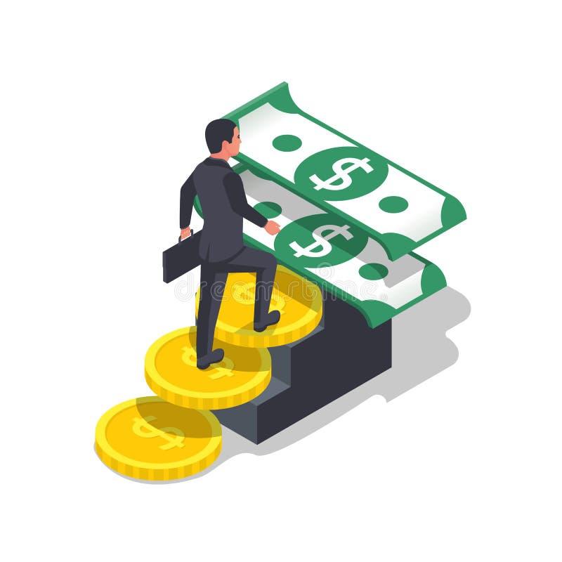 Escalera del dinero como símbolo del crecimiento y del beneficio de la renta stock de ilustración