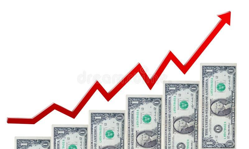 Escalera del dinero y flecha roja en ascendente aisladas fotografía de archivo