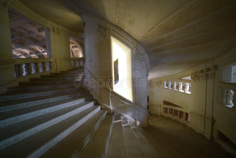 Escalera del doble hélice de Chateau de Chambord imagen de archivo libre de regalías